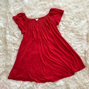 Silence + Noise Red Off The Shoulder Swing Dress